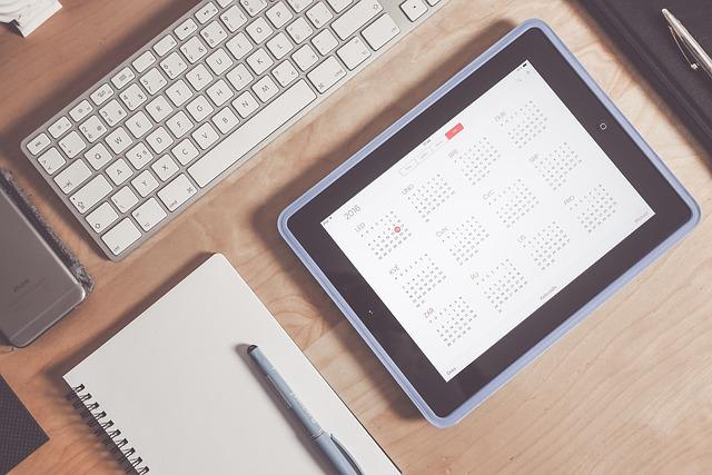 kalendář v tabletu