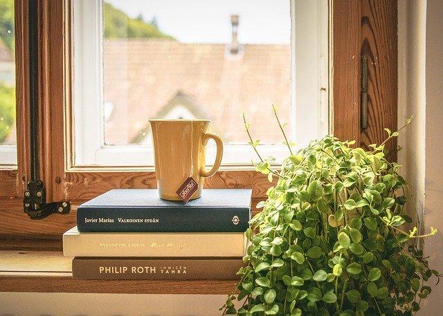 knihy na okně